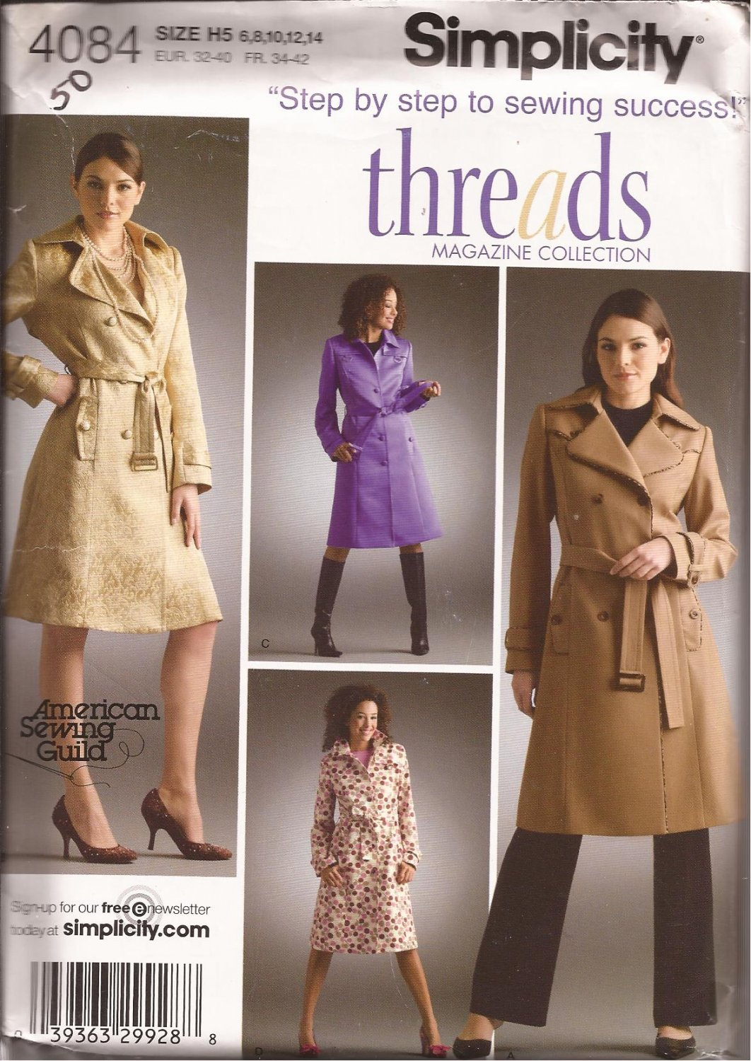 Simplicity 4084 (2006) Lined Single Double Breasted Trench Coat Belt Pattern Size 6 8 10 12 14 UNCUT
