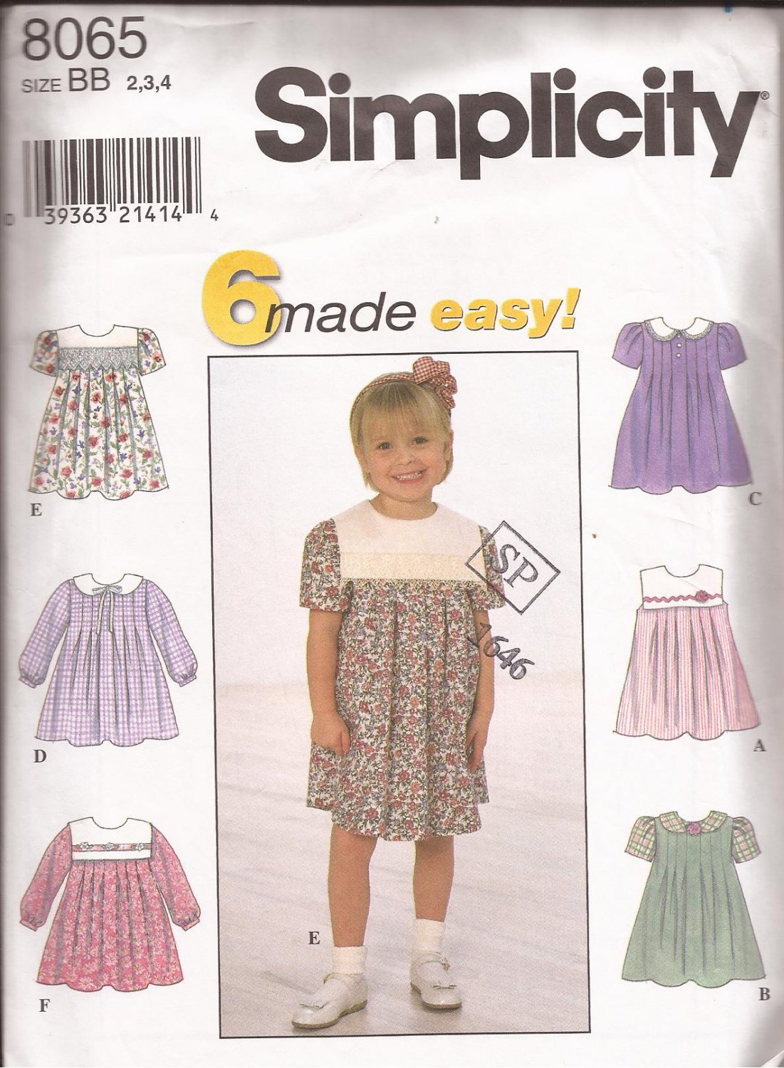 Simplicity 8065 (1998) Girl Toddler Dress 6 Made Easy Pattern Size 2 3 4 UNCUT