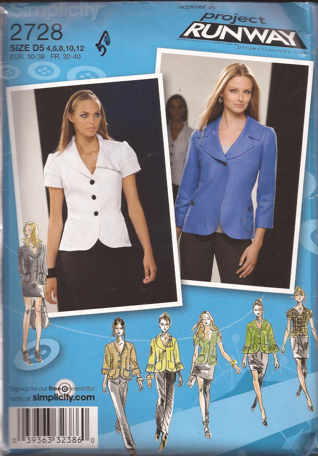 Simplicity Project Runway 2728 (2008) Jacket Collar Sleeve Variations Pattern Size 4 6 8 10 12 UNCUT