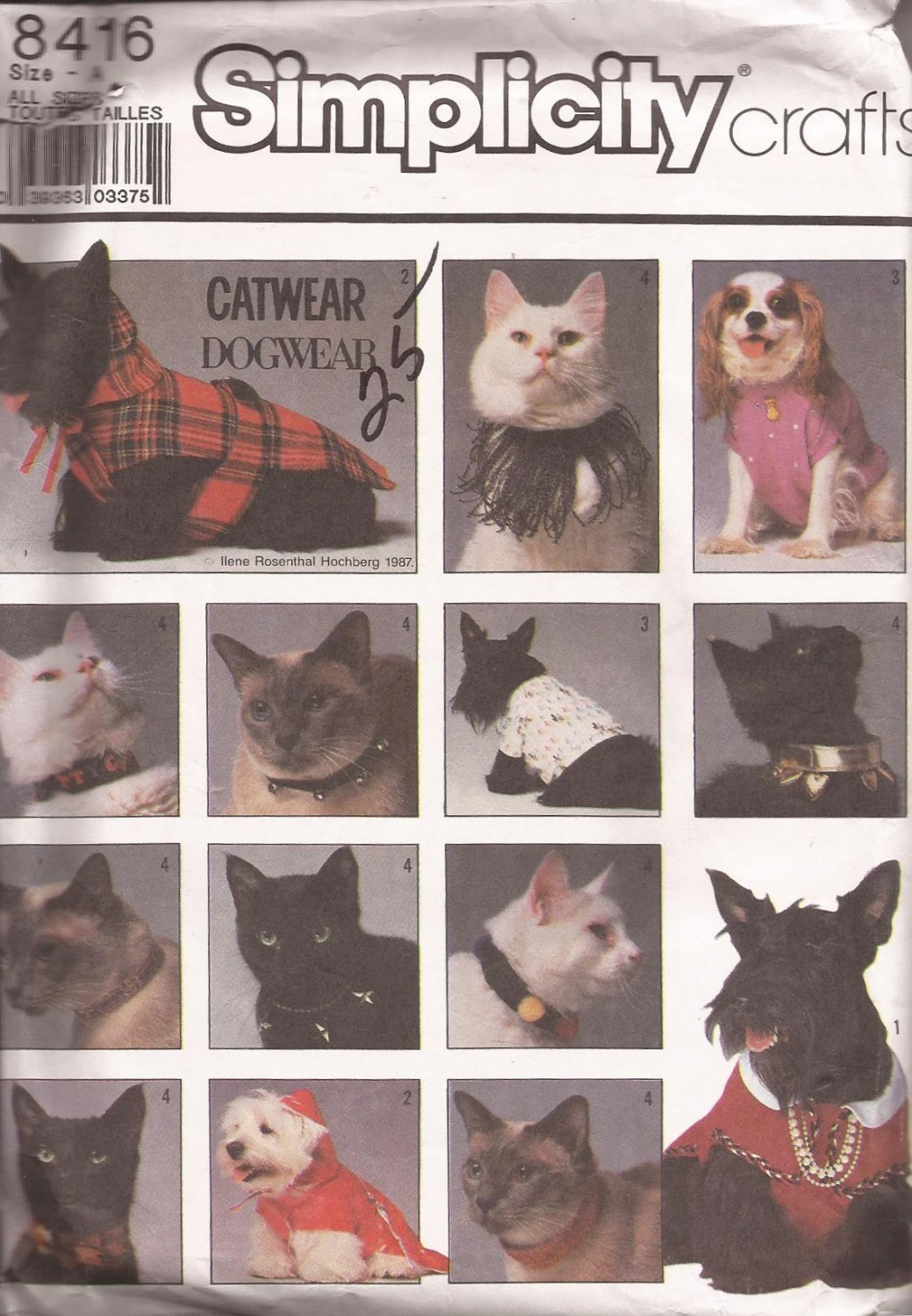 Simplicity 8416 (1987) Vintage Dog Coat T-Shirt Cat Collars Pattern S M L UNCUT