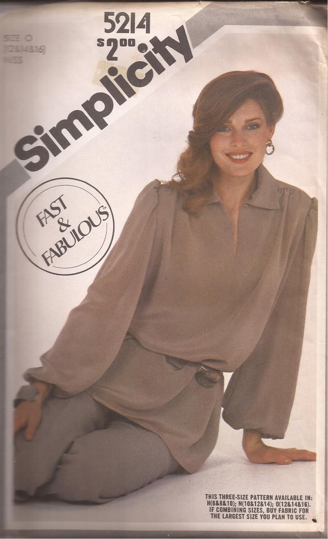 Simplicity 5214 (1981) Pullover Tunic Elastic Waist Pants Pattern Size 12 14 16 UNCUT