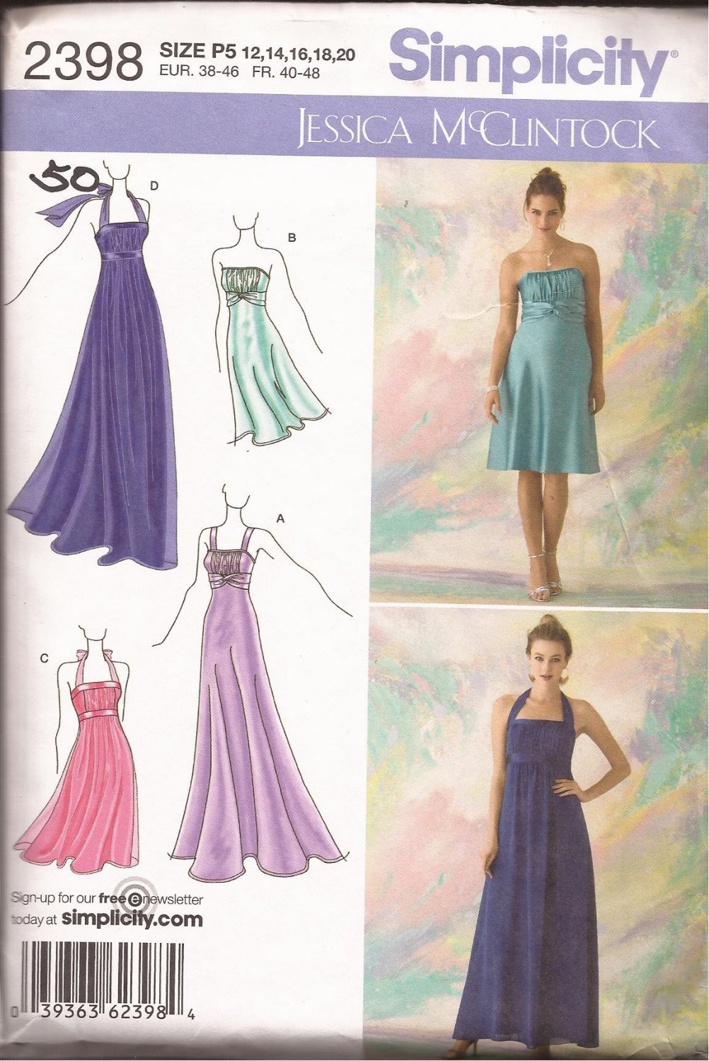 Simplicity 2398 (2010) Special Occassion Evening Prom Dress Pattern Size 12 14 16 18 20 CUT