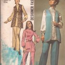 Simplicity 9077 (1970) Vintage Junior Misses Vest Tunic Elastic Waist Pants Pattern Size 16 PART CUT