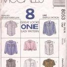 McCalls 8053 (1996) Front Button Collar Shirt Midi Short Long Sleeves Pattern CUT to 16