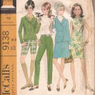 McCalls 9138 (1968) Vintage Dress Blouse Skirt Jacket Pants Shorts Pattern Size 16