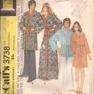 McCalls 3738 (1973) Vintage Classic Mens Womens Bath Robe Pattern Size XL 42 40 UNCUT