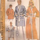 McCalls 2218 (1969) Vintage Classic Mens Womens Unisex Bathrobe Reversible Robe Size M 34 36 UNCUT