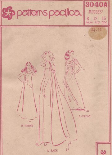 Patterns Pacifica 3040A Vintage Long Dress Round Neck Band Back Veil Pattern Size 8 12 16 UNCUT