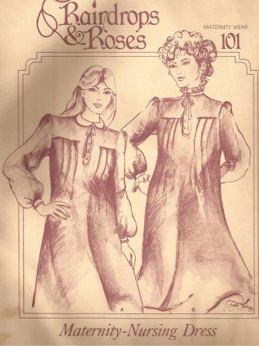 Raindrops & Roses 101 Maternity Nursing Dress Pattern Size 8 10 12 14 16 UNCUT