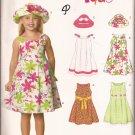 New Look 6693 (2007) Girls Dress Hat Pattern Size 3 4 5 6 7 8 UNCUT