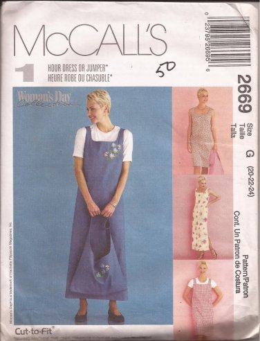 McCalls 2669 (2000) Dress Jumper Tote Bag Pattern Size 20 22 24 UNCUT