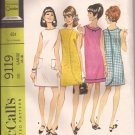 McCalls 9119 (1967) Vintage One Piece Three Armhole Wrap Dress Pattern Size Large 16 18 UNCUT