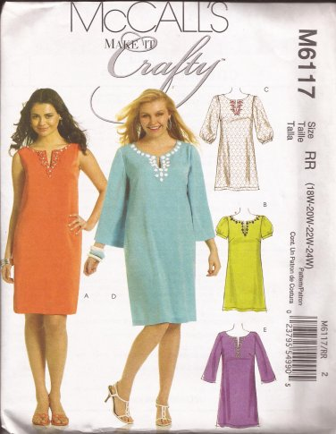 McCalls 6117 (2010) Petite Dress Sleeve Variations Neckline Slit Pattern Size 18W 20W 22W 24W UNCUT