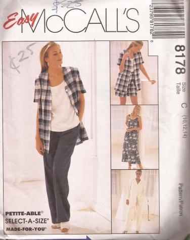 McCalls 8178 (1996) Dress Top Jacket Pants Shorts Pattern Size 10 12 14 UNCUT