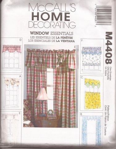 McCalls 4408 (2004) Window Valance Curtain Panels Pattern UNCUT