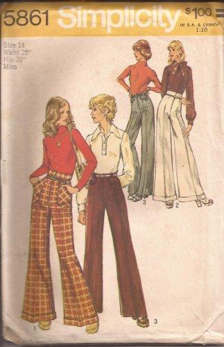 Simplicity 5861 (1973) Vintage Straight Wide Leg Pants Cuff Pattern Size 12 UNCUT