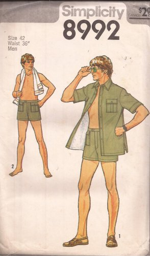 "Simplicity 8992 (1979) Vintage Shorts Shirt Jacket  Safari Pockets Pattern Size 42 Waist 36"" UNCUT"