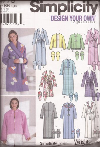 Simplicity 6778 (2002) Robe Bed Jacket L XL Slippers 5-6 7-8 9-10 Pattern UNCUT