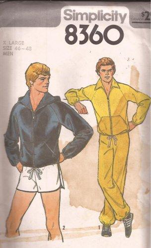 Simplicity 8360 (1977) Vintage Mens Hoodie Jacket Sweat Pants Shorts Pattern Size XL 46 48 UNCUT