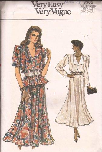 Vogue 9905 (1987) Top Shirt Blouse Flare Skirt Pattern Size8 10 12 UNCUT