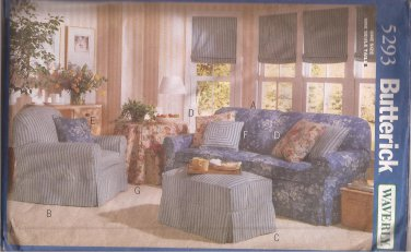 Butterick 5293 (1997) Waverly Chair Couch Ottoman Table Slipcovers Pillows Pattern UNCUT