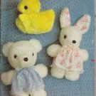 Butterick 423 Vintage Stuffed Baby Duck Bear Rabbit Dress Pattern PART CUT