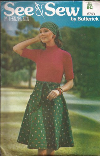 Butterick See & Sew 5763 Vintage Flare Wrap Skirt Patch Pocket Pattern Size Large UNCUT