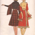 Butterick 6328 Vintage Long Dolman Sleeve Turtle Neck Dress Stole Wrap Skirt Pattern Size 14 UNCUT