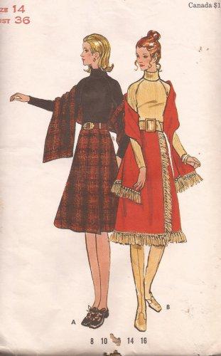 Butterick 6328 Vintage Long Dolman Sleeve Turtle Neck Dress Stole Wrap Skirt Pattern Size 14 UNCUT
