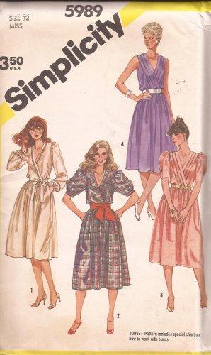 Simplicity 5989 (1983) Pullover Dress Surplice Cross-Over Bodice Pattern Size 12 UNCUT