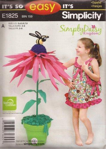 Simplicity E1825 (2012) Girls Childs Daisy Kingdom Dress Tote Purse Pattern Size 3 4 5 6 7 8 UNCUT