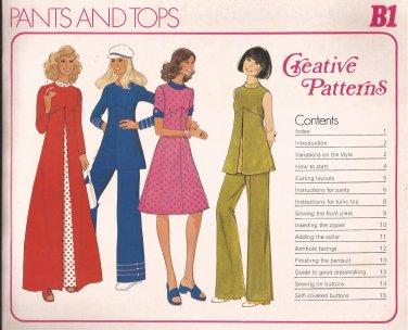 Creative Patterns B1 (1975) Vintage Pants, Top, Dress Pattern UNCUT