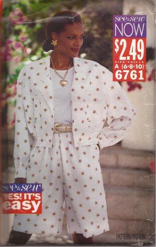 Butterick 6761 (1993) See & Sew Jacket Split Skirt Pattern Size 6 8 10 UNCUT