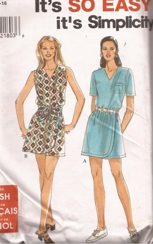 Simplicity 8206 (1996) Misses Miss Petite Romper Mock Wrap Pattern Size 6 8 10 12 14 16  UNCUT