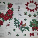 Christmas Wreath Bows Poinsetta Red Birds Fabric Applique