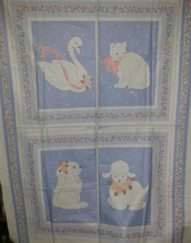 Baby Toddler Childs Girls Pillow Sham Quilt Panels Swan Cat Bunny Lamb Fabric