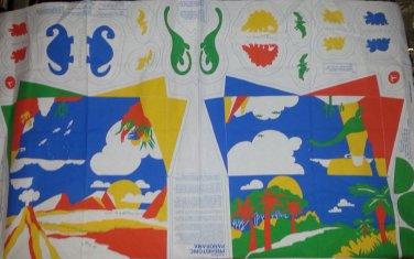 Vintage 1987 Prehistoric Dianosaur Panarama Stuffed Cut and Sew Panel Fabric