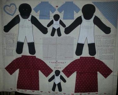 African American Samantha Polly Stuffed Doll Fabric Panel