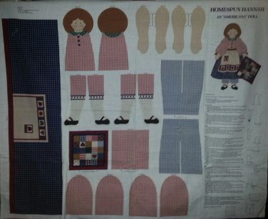 Homespun Hannah Americana Folk Stuff Doll Fabric Cut and Sew Panel