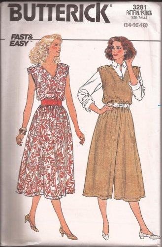 Butterick 3281 (1995) Dress Jumpsuit Elastic Waist Pattern Size 14 16 18 UNCUT