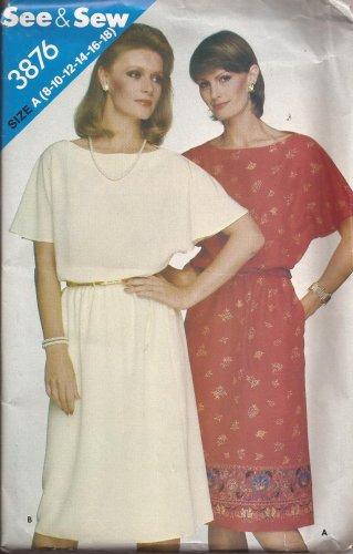 Butterick 3876 Elastic Waist Short Sleeve Dress Pattern Size 8 10 12 14 16 18 UNCUT