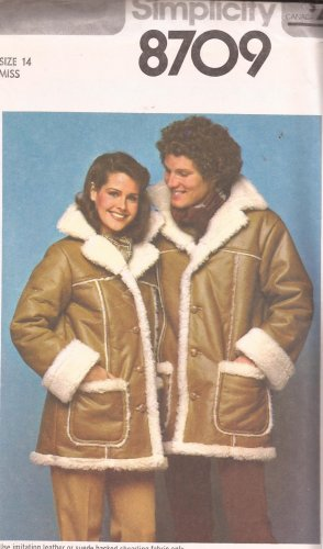 Simplicity 8709 (1977) Vintage Misses Unlined Jacket Coat Pattern Size 14 UNCUT
