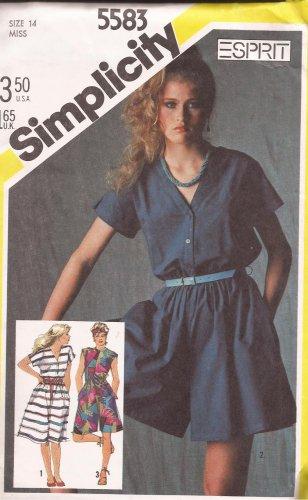Simplicity 5583 (1982) Dress Culotte Jumper Pattern Size 14 UNCUT