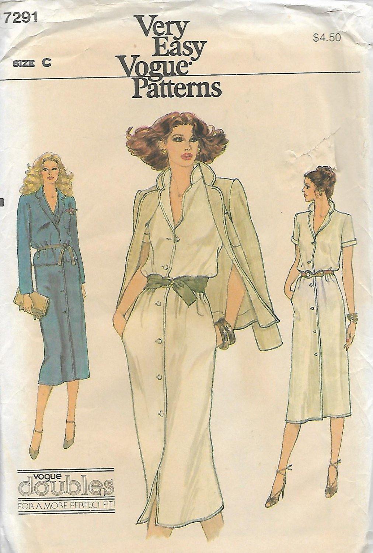 Vogue 7291 Very Easy Vintage Misses Unlined Jacket Dress Pattern Size C 10 12 UNCUT