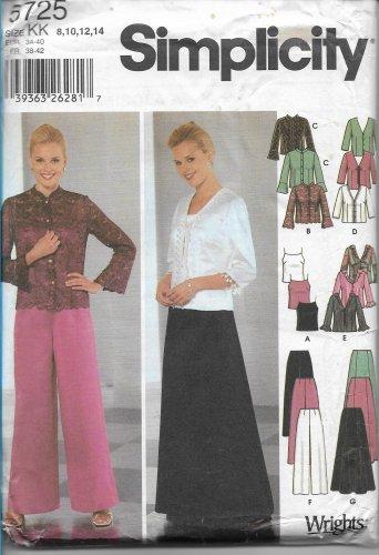 Simplicity 5725 Misses Petites Evening Camisole Tops Pants Skirt Pattern Size 8 10 12 14 UNCUT