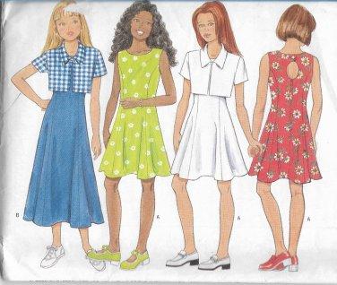 Butterick 4904 Girls Short Jacket Princess Seam Dress Keyhole Back Pattern Size 12 14 UNCUT