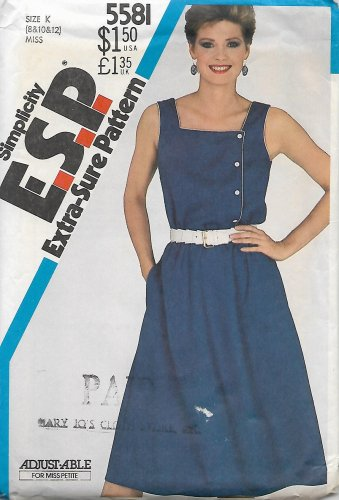 Simplicity 5581 Vintage Misses Pullover Asymmetrical Dress Sundress Pattern Size 8 10 12 CUT to 12