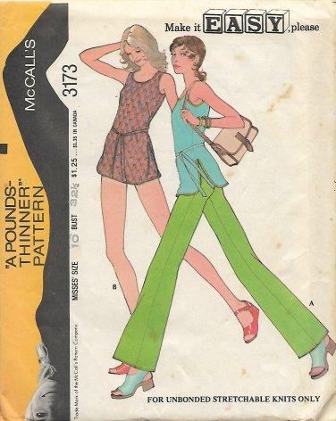 McCalls 3173 (1972) Vintage Misses Top Pants Swimsuit Pattern Size 10 PART CUT