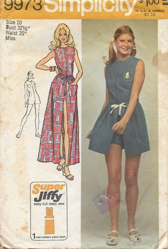 Simplicity 9973 (1972) Vintage Super Jiffy Easy Wrap Skirt Short Jumpsuit Pattern Size 10 PART CUT