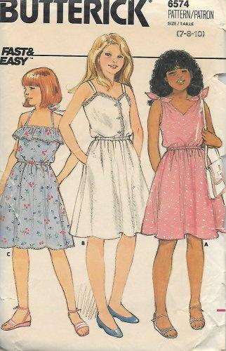 Butterick 6574 Girls Pullover Dress Sundress Pattern Size 7 8 10 UNCUT